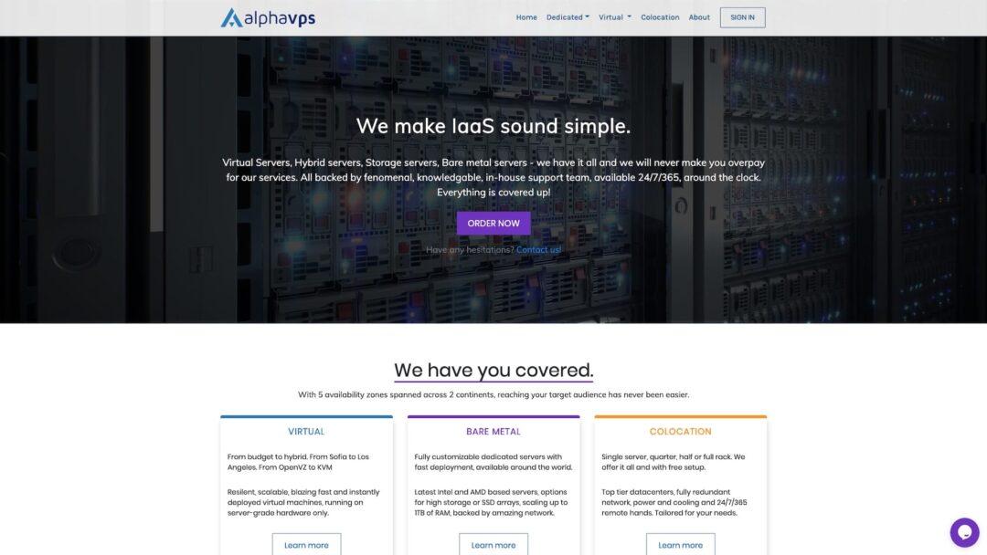 AlphaVPS Homepage