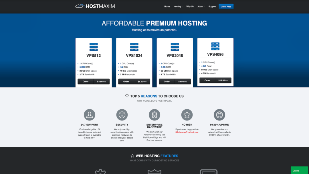HostMaxim Homepage
