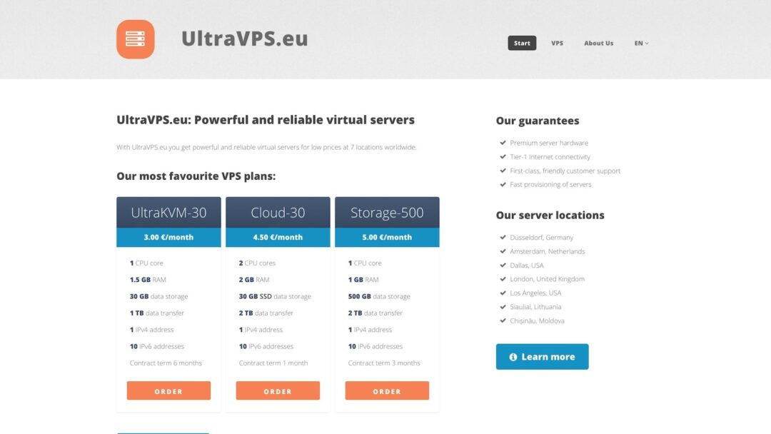 UltraVPS Homepage